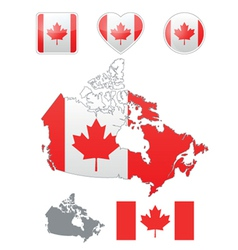 Canadian flag and icons vector