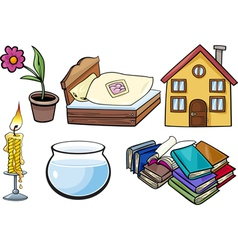 Household objects cartoon set vector