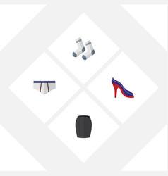 Flat icon dress set of foot textile stylish vector