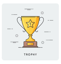 Golden trophy cup thin line concept vector