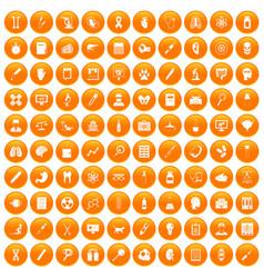 100 diagnostic icons set orange vector