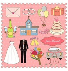 Wedding icons collection vector