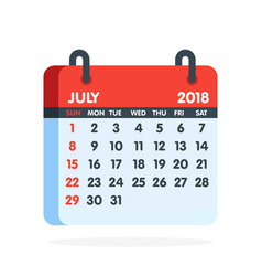 Calendar for 2018 year full month of july icon vector