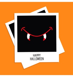 Instant photo with vampire mouth fangs halloween vector