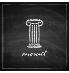 Vintage with ancient column on blackboard vector