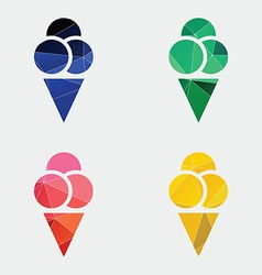 Ice cream icon abstract triangle vector