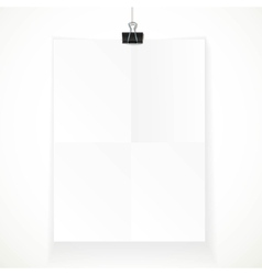 White paper hanging on binder isolated on a white vector
