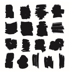 Black brush strokes set vector