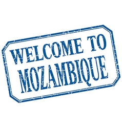 Mozambique - welcome blue vintage isolated label vector