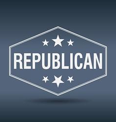 Republican hexagonal white vintage retro style vector