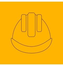 Building helmet line icon vector