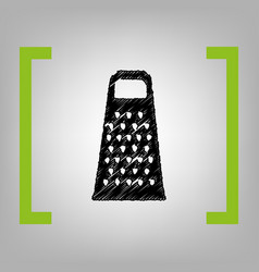 Cheese grater sign black scribble icon in vector