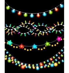 Colorful Christmas Lights Garlands vector image vector image