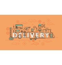 Delivery thin line icons package vector image