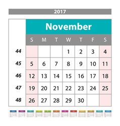 Desk Calendar for 2017 Year November Design Print vector image vector image