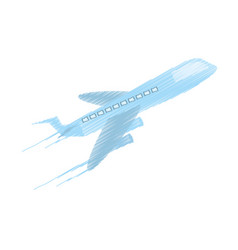 Drawing delivery airplane worldwide vector