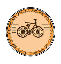 elegant frame chain with bicycle vehicle vector image