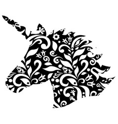 Embroidery floral unicorn vector