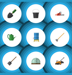 Flat icon garden set of tool lawn mower shovel vector