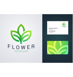 flower logo template and business card template vector image