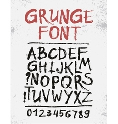 Handwritten calligraphic black ink grunge alphabet vector image