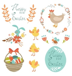 Happy Easter set vector image vector image