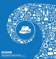 Hat icon sign nice set of beautiful icons twisted vector