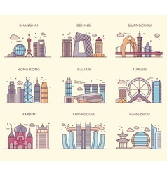 Icons Chinese Major Cities Flat Style vector image vector image