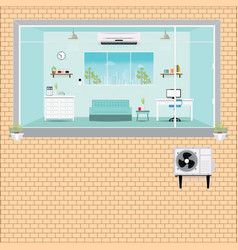Living room with air conditioning vector