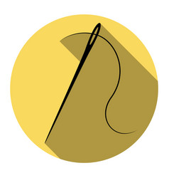 needle with thread sewing needle needle for vector image vector image