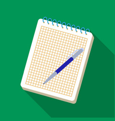 notebook and pen icon in flat style isolated on vector image vector image