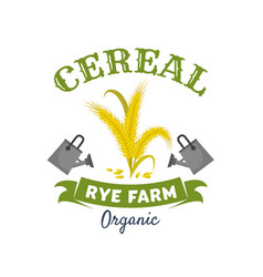Organic cereal emblem with rye ears and grain vector