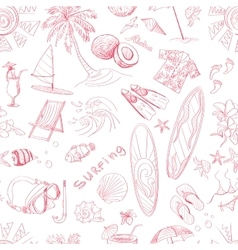 Pattern of doodle sketch Surfing icons vector image