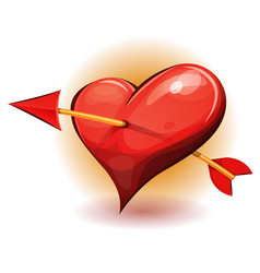 Red heart icon pierced by arrow vector
