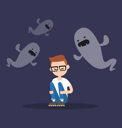 Scared nerd surrounded by ghosts flat editable vector