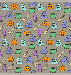 seamless halloween pattern on gray background vector image