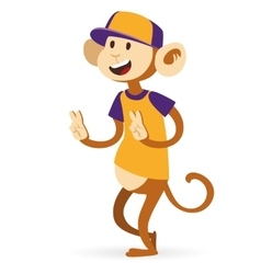 Selfie photo monkey ape boy hipster with cap vector