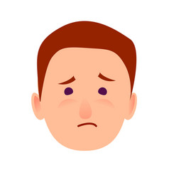 Sorrowful face emotion on man-child close-up icon vector