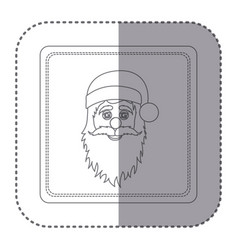 Sticker of silhouette frame of santa claus face vector