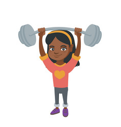 strong african girl lifting heavy weight barbell vector image vector image