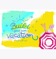 Summer horizontal poster for travel agency vector