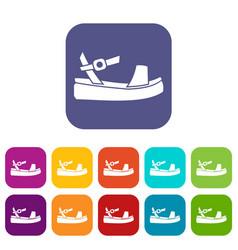 women sandale icons set vector image