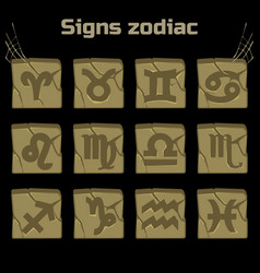 Zodiac signs and a set of badges on old stone vector