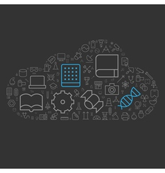 Icons shape line technology industry science cloud vector