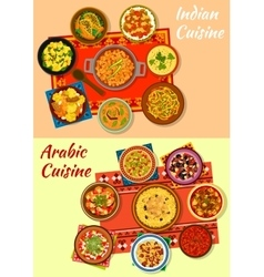 Indian and arabic cuisine traditional dishes icon vector