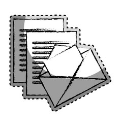 Sticker monochrome blurred with envelope mail and vector