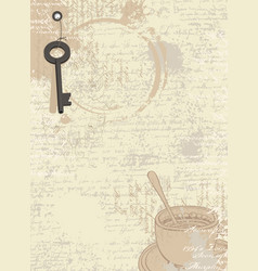 abstract coffee background with cup and key vector image