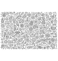 Doodle cartoon set of indian objects and vector