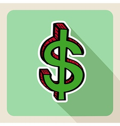 Sketch style green money symbol vector