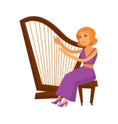 Female musician in dress sitting and playing harp vector